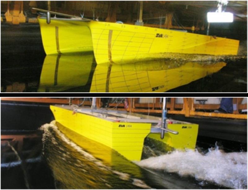 Propulsionsversuch mit einem Katamaran mit Waterjet-Antrieben.
