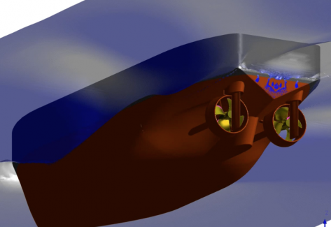Simulation eines Schleppers mit rotierendem Propeller und freier Wasseroberfläche.