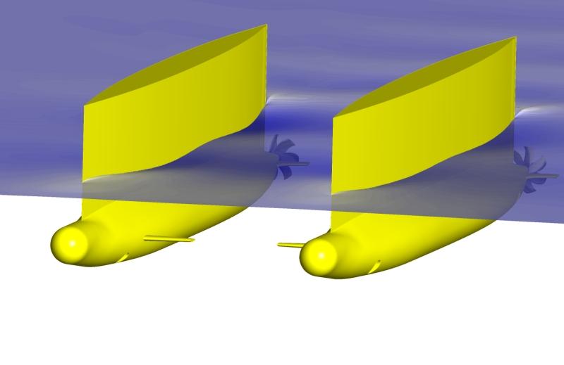 CFD-Simulation eines SWATH-Schiffes im Seegang