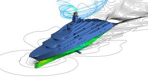 Leistungsprognose Formoptimierung Nachstromsimulation Manövrieren Kavitationssimulation Flachwassereffekte  Aerodynamik/Abgas- und Windlasten Schiff im Seegang