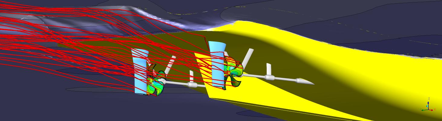 CFD-Simulation eines Zweischraubers.